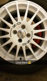"Genuine OZ Racing 16"" 4x100 White Pearl Wheels + Toyo Proxes"