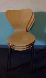 Four Keeler chairs in light wood, Arne Jacobsen style from 1957