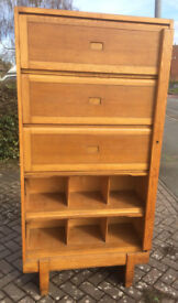 Quality Vintage Oak Staverton Pigeon Hole Haberdashery Storage Cupboard 1959