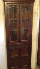 Corner Display Cabinet, Old Charm, light in top, cupboard in bottom
