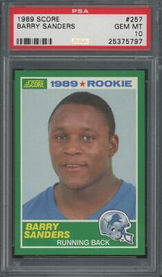 1989 Score #257 Barry Sanders RC Rookie Gem Mint PSA 10