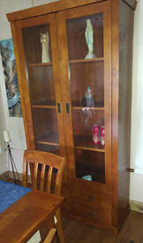 M&S real wood and glass display cabinet, with doors and drawers