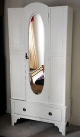 Lovely vintage wardrobe, paneled-wood, painted white, brass handles, mirror front. KT22