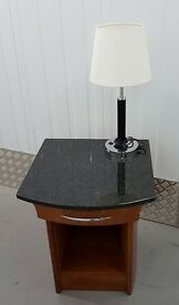 2 Bedside Cabinets with Marble Top + 2 Lamps Set - Clearance