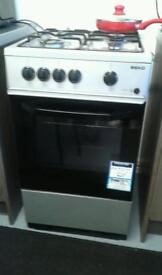 Beko gas cooker in black and silver.