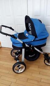 (. Kunert. Professional pram blue and black with swivel wheels )
