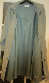 ANN HARVEY Soft Touch Olive Green Coat with Detachable Hood - size 16