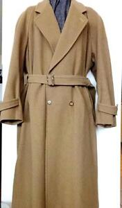 "HOLT RENFREW $1200 MENS XL OVERSIZED VERY LONG WOOL COAT Morocco SATIN LINING~BROWN QUALITY 46 48"" OAKVILLE 905 510-8720"
