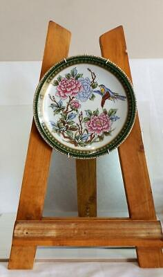 Vintage Japanese hand decorated plate bird and flower with mark on the base