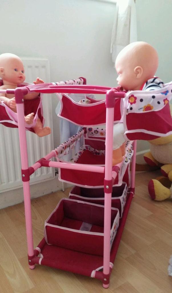 Hauke dolls pram & bed/ doll highchair