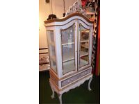Unique designer off white armoire storage cabinet french crested with original features shabby chic