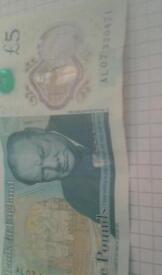 Rare five pounds notes
