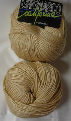 GRIGNASCO CA ITALIAN MERCERIZED COTTON  DK/WORSTED YARN 1 BALL SECOND SKIN (14E)