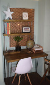 Rustic Handmade Industrial Desk hairpin leg table & Chair 100cm x 52cm