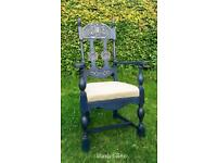 Hand painted solid oak bedroom chair