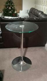 Next bar table glass and chrome