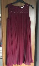 Prinsiples maroon pleated dress size 8 petite