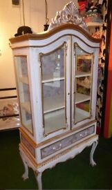 Vintage storage bedroom armoire cupboard bedding display shelves