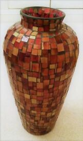 NEW EXTRA-LARGE GLASS VASE MOSAIC HANDMADE Heavy Bronze Gold Rust Red Glass Tiles Ornament Glassware