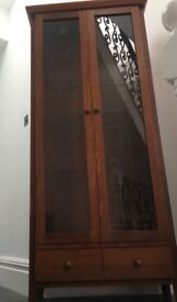 Glass fronted wood display cabinet