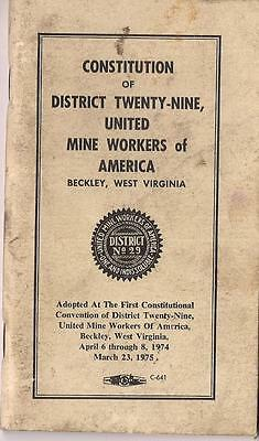 1975 1st Constitutional Convention United Mine Workers BECKLEY WV Constitution