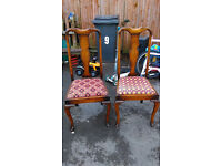 beautiful pair queen ann style antique chairs shabby chic