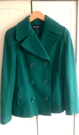 NEW New Debenhams bottle sea forest green teal wool jacket double - breasted trench coat size 10 12