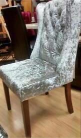 Set Of Four Beautiful Crushed Velvet Winged Knocker backed Chairs.