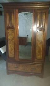 Large antique victorian mirrored wardrobe in excellent condition