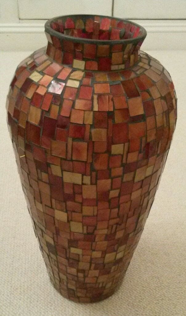 New Extra Large Heavyweight Handmade Glass Mosaic Vase Colour Bronze Gold