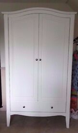 Schreiber - White Wooden Double Wardrobe, Chest Of Drawers & Bedside Unit Vintage Bedroom Set
