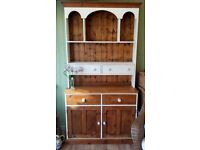 Beautiful vintage pine solid kitchen dresser with ample storage and display