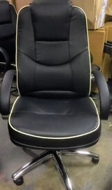 New Executive Professional Black Leather Office Swivel Chair for Business or Home Student Use