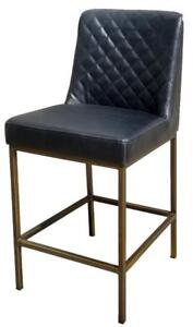 Black Leather Counter Stool with Bronze Steel Frame