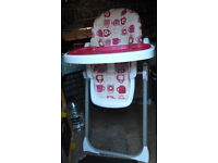 Childs folding adjustable high chair with tray
