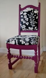 Stunning Upcycled Chair newly upholstered in Ralph Lauren fabric