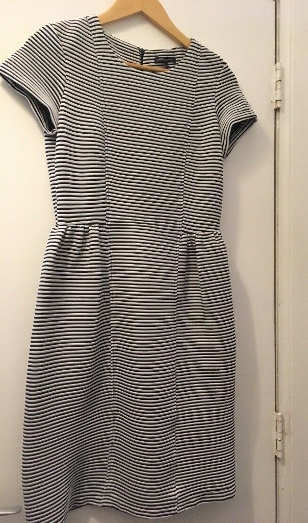 NEW Limited Edition M&S Blue & White Striped Work Knee-Length Dress, Size 10