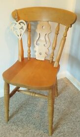Three Solid Wood Windsor Chairs