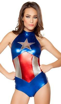 Captain America Costume Metallic Bodysuit Romper Stars Stripes Super Hero 10056 (Womens Super Hero Costume)