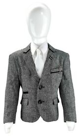 Boys Kids Slim Fit Smart Casual Grey Stretch Blazer Designer Style Elbow Patch Jacket
