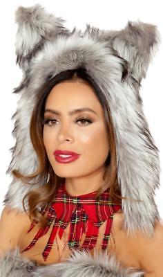 Furry Wolf Hood Ears Hat Big Bad Werewolf Costume Fuzzy Fluffy Plush Grey - Wolf Hat Costume