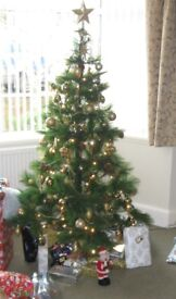 High Quality 6ft Artificial Christmas Tree complete with matching Lights & Decorations
