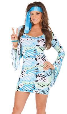 Retro Print Costume Bell Sleeve Dress Scarf Groovy 1960s 1970s Hippie Disco 9781 - Female Disco Costumes