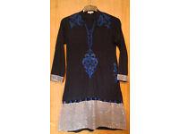 Saiqa Majeed London Navy Blue Mandarin Collar Ornate Kurti Tunic Top.Size Small.