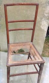Antique wooden upright rattan seat chair for renovation