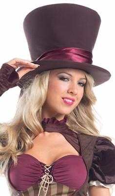 High Top Hat with Ribbon Steam Punk Mad Hatter Alice Wonderland Costume BW228 - Top Hat Costume