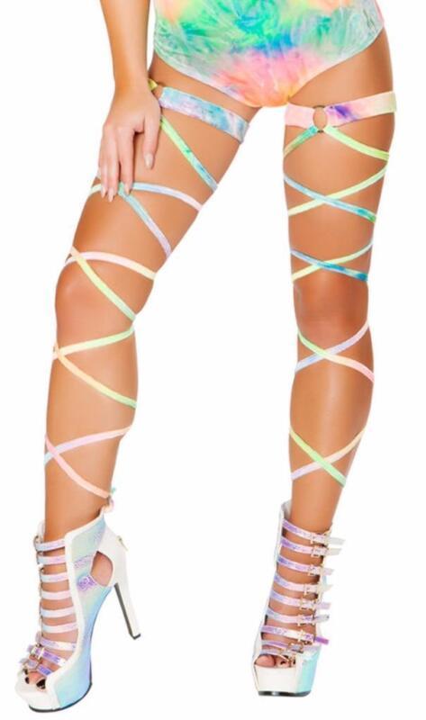 Velvet Tie Dye Leg Wraps Garter O Ring Rainbow Straps Costume Rave Clubwear 3495