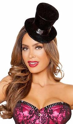 Top Hat Circus (Velour Mini Top Hat with Band Burlesque Vampire Steampunk Circus Costume)