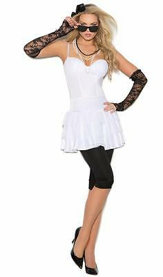 Rock Star Rocker Costume Top Shirt Leggings Lace Gloves 1980s Madonna - Female Rocker Costume