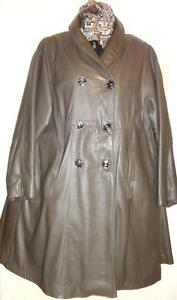 XL XXL 3X LEATHER SWING COAT / Custom / $1400 / Womens Plus 46 48 Free Scarf NEW / Bargain - Winter Clearance Sale